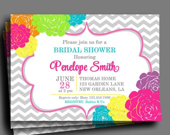 Flowers in Bloom Invitation Printable or Printed with FREE SHIPPING - Bridal Shower, Baby Shower, Birthday, ANY Occasion - Colorful Blooms