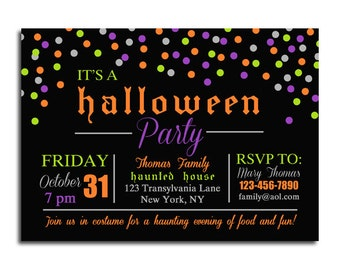 Halloween Party Invitation Printable or Printed with FREE SHIPPING - Birthday, Spooktacular Bash - Confetti