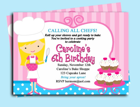 Chef Cupcake Baking Invitation Printable or Printed with FREE SHIPPING- Sweet Little Bake Shoppe (You Pick Hair Color/Style/Skin Color)