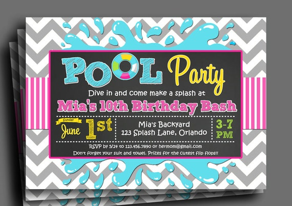 Pool Party Splash Bash Invitation Printable Or Printed With