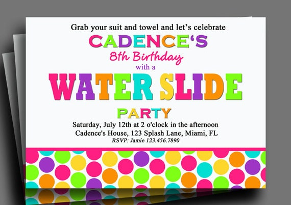 Water Slide Invitation Printable or Printed with FREE SHIPPING – Water Slide Party Invitations