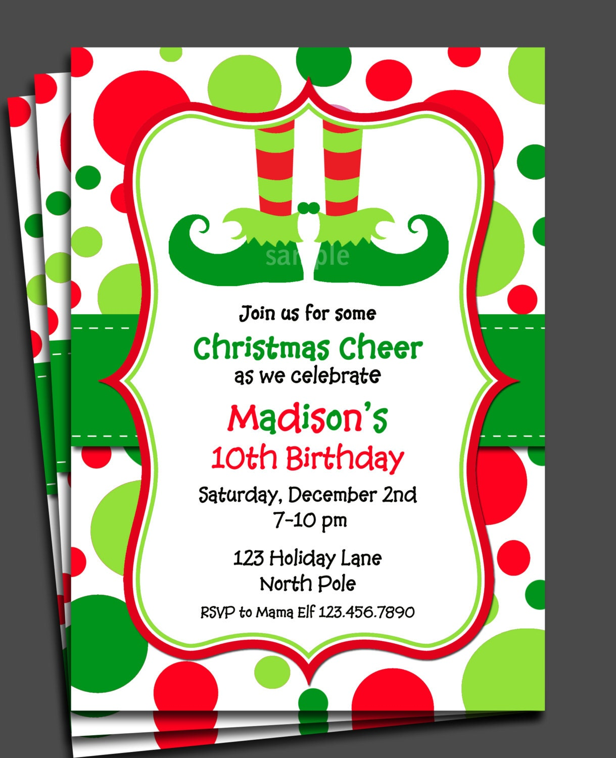 Christmas Elf Invitation Printable or Printed with FREE