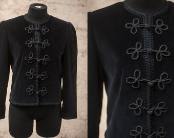 Black Velvet Military Inspired Jacket Sz 4