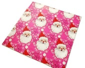 Vintage Wrapping Paper - Mod Santa in Pink Reindeer Background Gift Wrap - One Sheet