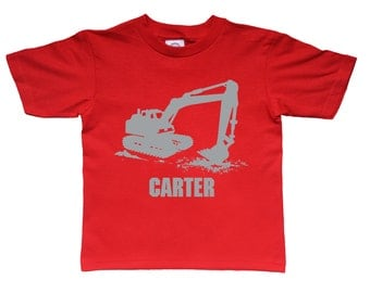 Personalized Digger shirt - Excavator shirt for kids - you pick the colors!