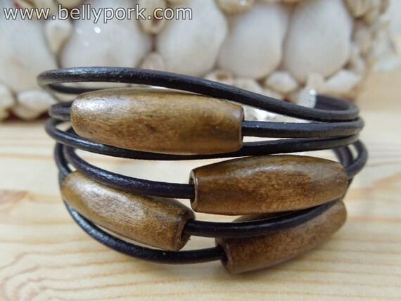 Wooden bracelet,purple leather bracelet,purple leather cuff,beaded cuff, beaded bracelet,wood purple bracelet,beaded leather bracelet