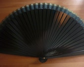 HAND FAN Hand-held Folding Man Fan or Unisex Dark Green KD202