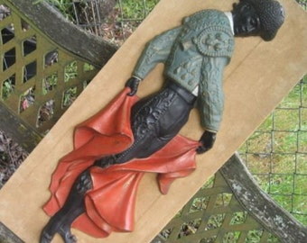 29 in tall Chalkware Matador Vintage Wall Hanging 1960s Bull Fighter Restaurant Decor Mar-Wal