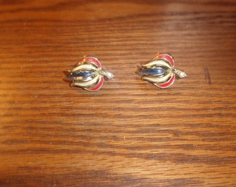 vintage clip on earrings red white blue