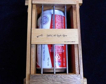 Secret Lock Box III - The Jail Cell Puzzle Box holds Beer Can, many cell phones, gift cards, ring boxes, etc...
