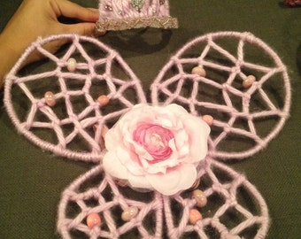 Custom Woven Fairy Wings with Crown Pink  Photo Prop or Childplay