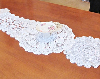 SALE Vintage Doily Table Runner Doilies Crochet Shabby Chic Homewares Rustic Wedding Boho Chic Domum Vindemia Bridal Wedding