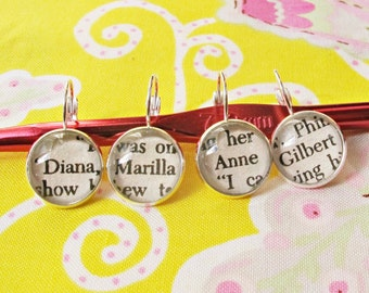 Anne of Green Gables Stitch Marker Set Knitting Crochet Removable Anne Shirley Marilla Cuthbert Gilbert Blythe Silver Leverback Earrings