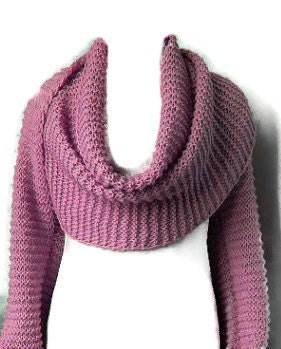 Knitting Pattern Scarf With Sleeves : Basic Shrug Cowl Sciarpone Scarf With Sleeves PDF Knitting