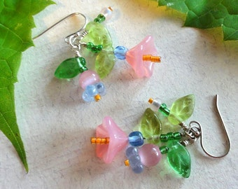 Spring Flower Earrings, Pink and Blue Glass Flowers and Green Glass Leaves Earrings, Birthday Gift, Pastels, Spring Earrings, Summer