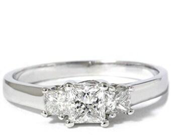 Diamond 1.00CT Three Stone Diamond Ring 14K White Gold