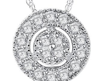 Pave Halo  .24CT Vintage Antique Style Diamond Pendant 14K White Gold & Chain