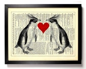 Penguin Love, Home, Kitchen, Nursery, Bath, Office Decor, Wedding Gift, Eco Friendly Book Art, Vintage Dictionary Print 8 x 10 in.