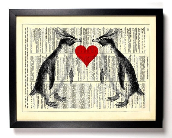Penguin Love, Home, Kitchen, Nursery, Bath, Office Decor, Wedding Gift, Eco Friendly Book Art, Vintage Dictionary Print 8 x 10 in.