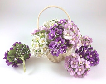 100 Mixed Purple and White  Wedding Roses