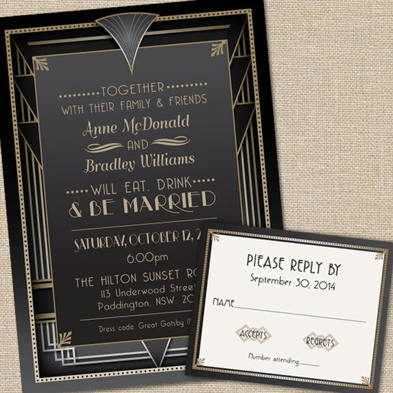 Great Gatsby Wedding Invitations With Rsvp Cards And