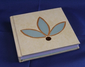 Cream coloured notebook - Handmade notebook - Mini hardback notebook - Leaf motif design on cover