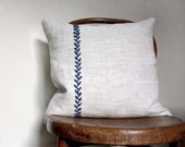 Simplicity. Natural Linen Decorative Pillow. Hand Embroidered Detail. Grey and Blue. 18'' (45cm).