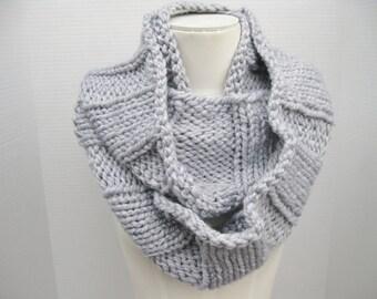 Knit infinity scarf silver grey wool