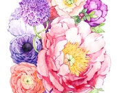 Peony Watercolor- Flower Art Painting - Pink Purple - Print
