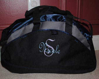 Personalized Duffel Bag Embroidered Gym Bag School Dance Tote Custom Cheer Gymnastics Monogrammed Small Bag two line