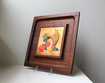 Vintage Danish Modern Ernest Sohn Cheese Board Tray Enamel Walnut Serving Appetizer