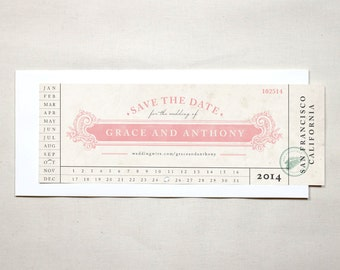 Vintage Train Ticket Save The Date