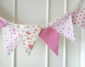 Sweet Pink Bunting, Fabric Banners, Wedding, Garland, Photo Prop, Floral, Roses, Polka Dots, Pink Shade - 3 yards (3rd version)