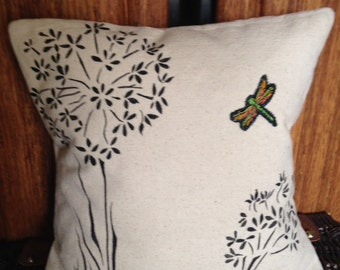 Hand Painted Home Decor- White Canvas with Black Flowers OOAK Pillow
