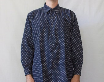 Large long sleeve blue and white polka dot Maus and Hoffman shirt