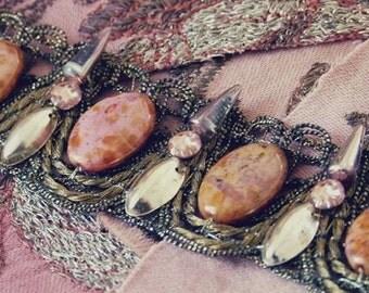 Gold & roses: Handmade bracelet w/ restored Antique French gold lace, vintage sequins artisanal beads swarovski Romantic punk valentine