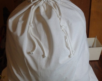 White on White Fabric Drawstring Gift Bag  17 x 16