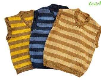 Vest - 1 - 24 months - 100% merino wool striped baby kid newborn child toddler sweater V neck