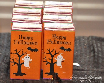 PRINTABLE JUICE BOX labels - Halloween Spooky Tree with Ghost and Bat - Memorable Moments Studio