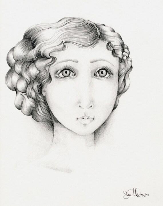Pencil Drawing Illustration Giclee Fine Art Print of my Original Pencil Drawing Illustration Black & White Melancholy Fine Art