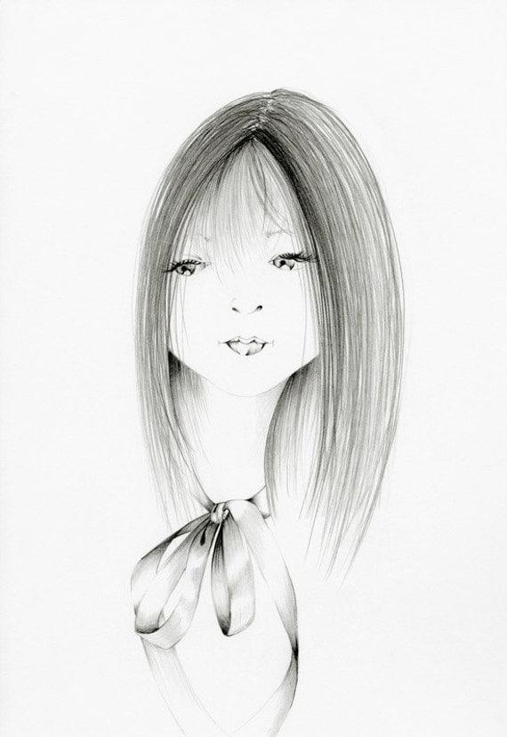 "She's ""Doll"" Fine Art Giclee Print of my Original Pencil Drawing Illustration Kids Wall Art Whimsical Fine Children's Wall Art Minimalist"