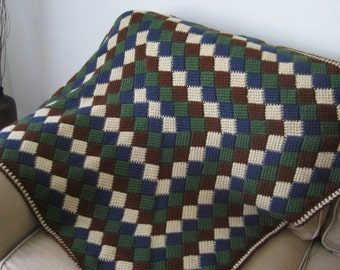 Crochet Baby Blanket Afghan - Beige Blue Green Brown - MADE TO ORDER -  Handmade - Tunisian Crochet