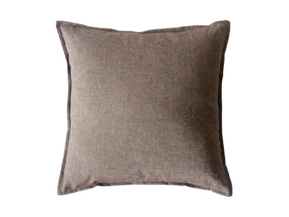 Linen decorative pillow MELANGE BROWN throw pillow cover by Lovely Home Idea
