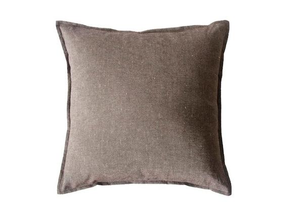 Brown Linen Throw Pillow : Linen decorative pillow MELANGE BROWN throw pillow cover by Lovely Home Idea