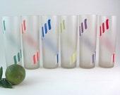 Vintage Barware Frosted Tom Collins Crystal Glassware Set of 6