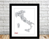 Italy Typography Map Art Decor Poster Print