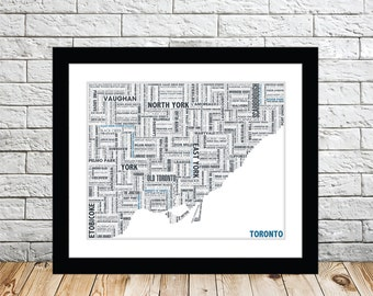 Toronto Typography Map 8x10 Print