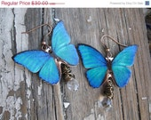Christmas In July Sale CIJ Blue Teal Butterfly Earrings with Clear Crystals Dangle Trend