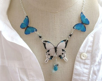 Teal Butterfly Necklace Blue Black and White Statement Necklace Summer Trend