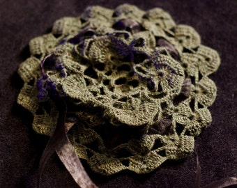 Silk Bun Cover in Mossy Green